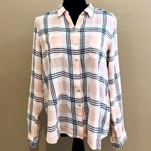 Caslon (Nordstrom) Pink and Navy plaid shirt (M)